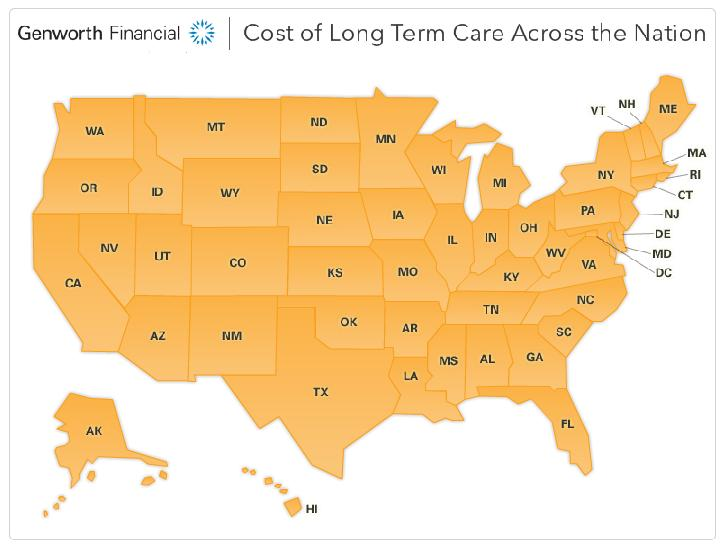 Cost of long term care across the nation.