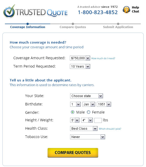 Online Life Insurance Quote Form From Trusted Quote