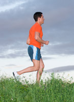 Man jogging outdoors for exercise.